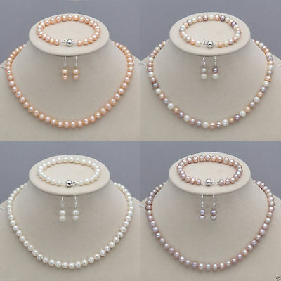 8-9mm Real Natural Akoya Cultured Pearl Necklace Bracelet Earrings Jewelry (Akoya Pearl Jewelry Set)