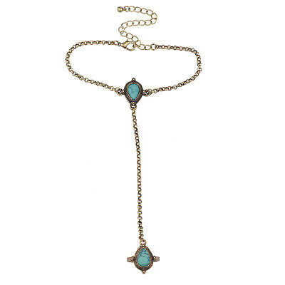 Lux Accessories Boho Burnish Gold Turquoise Stone Hand Jewelry  Hand Accessories Jewelry