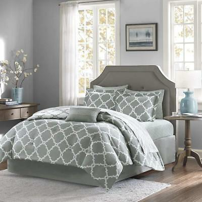 Gray 10 Piece Bed In a Bag Luxurious Comforter Set - SHEET SET INCLUDED (Luxury 10 Piece Bed)