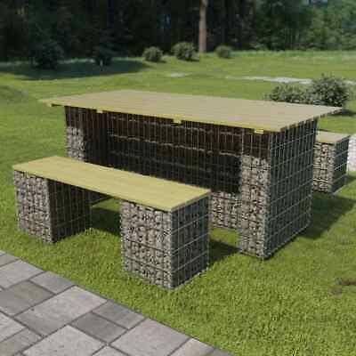 Kiefer Gartenmöbel (vidaXL Kiefer Gartenmöbel 3-tlg. Gabione Gabionenbank Gabionentisch Tisch Bank)