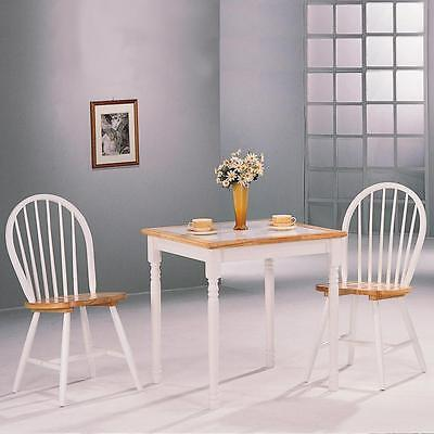 Damen 3 Piece Tile Top Dining Set in Natural and White by Coaster 4129 - 4191