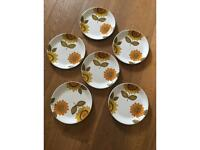 6 x Alfred Meakin Vintage Sunflower Dinner Plates
