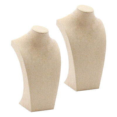2pcs Necklace Pendant Display Bust Mannequin Jewelry Display Stand Linen