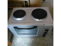 MINI COOKER, TABLE TOP, DOUBLE HOB, GRILL, OVEN, STAINLESS STEEL, TOP CONDITION