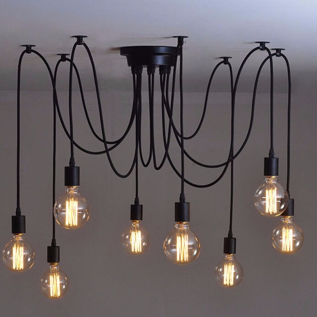 Black Ceiling Spider Lamp Light Pendant with 8 heads *NO BULBS ...