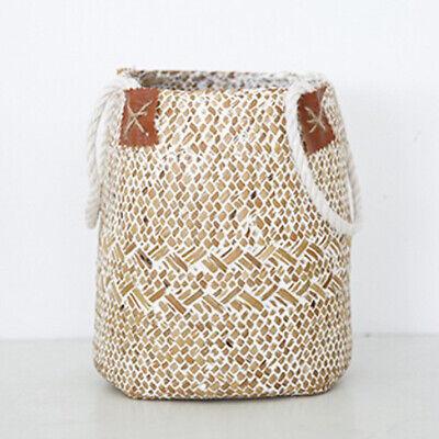 Woven Seagrass Basket Garden Indoor Planter Pot Holder Window Box White S