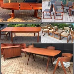 REFINISHED Danish Mid Century Modern Teak Walnut Dining Tables from $449, RUSSELL SPANNER Dining Suite REFINISHED, DESK