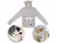 Mewgaroo / Meowingtons Grey Cat-Themed Hoodie - new, UK size 4-14