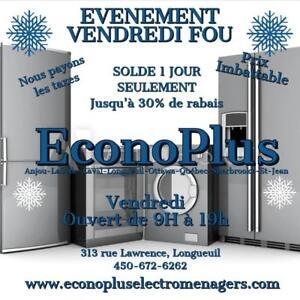 ECONOPLUS LIQUIDATION GRAND CHOIX DE REFRIGERATEUR CONGELATEUR BAS A PARTIR DE 449.99$ TAXES INCLUSES