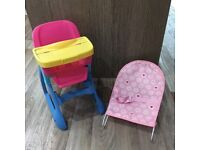 Dolls high chair and baby bouncer
