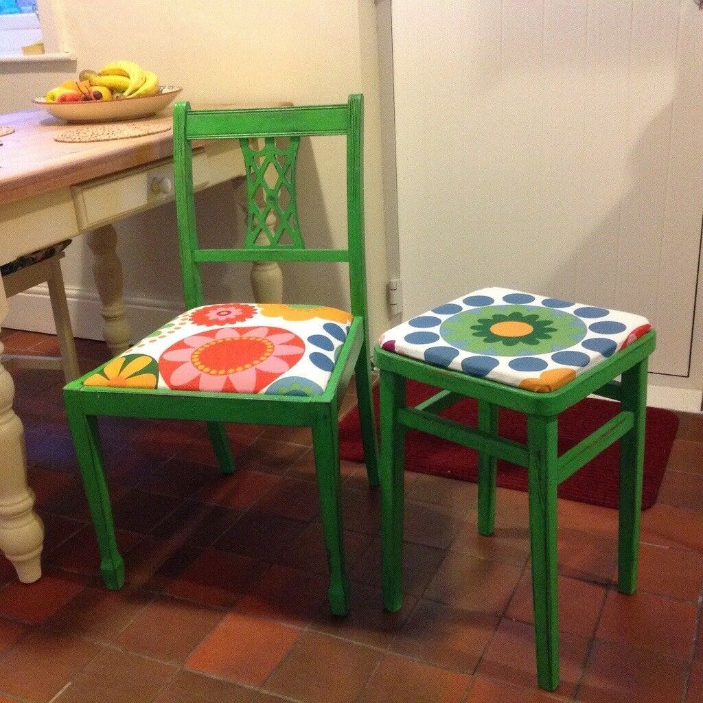 Funky kitchen/dining chair and matching stool.