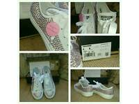 White converse with crystals size 6UK
