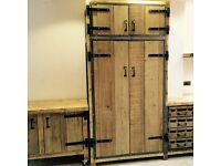 Industrial style larder/pantry cupboard solid timber