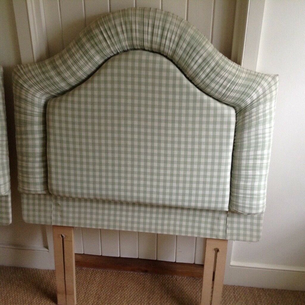 Pretty padded single bed headboard covered in Laura Ashley check ...