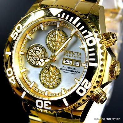 Invicta Reserve Elite Pro Diver Swiss Automatic .67ctw Diamond Gold Watch New