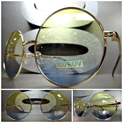 Übertrieben Übergröße Retro Sonnenbrille Rund Goldrahmen Gelb Blaue Linsen