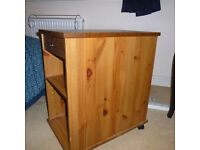 small wheeled storage cabinet pine