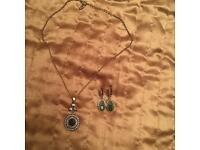 Antique style gold plated chain pendant and earring set