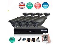 4 CCTV Dome/Bullet Cameras, 4 Channels DVR with 1TB Hard Drive (Full HD System)