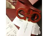 Red on red leather big buckle over sized leather belt ferragamo gift box