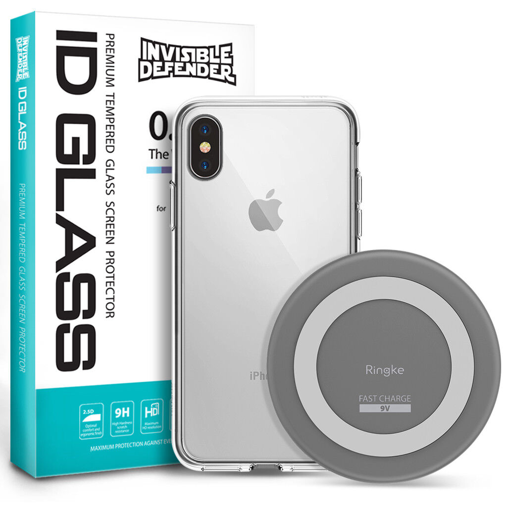 For iPhone X/8/8 Plus   Ringke Wireless Charger + Case + Gla