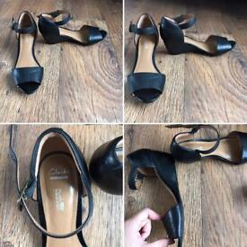 Clarks. Black leather. Wedges/Heels/Sandals. Size 6.