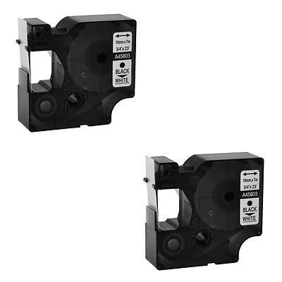 2pack For Dymo 45803 D1 Rhino 5200 6000 19mm Black On White Label Tape 34 7m