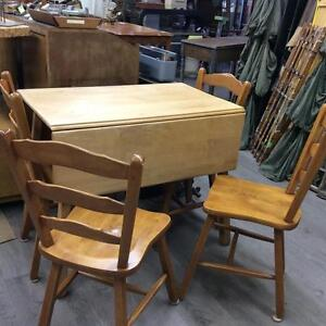 Drop Leaf Table and 4 Chairs Set