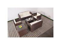 Brown Rattan Sofa and Table Set