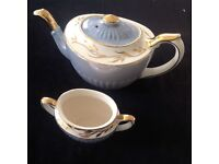 1950s Gibsons of Staffordshire Tea pot and sugar bowl.