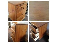 pine bedside drawer 3 drawers antique colour dovetail joints used