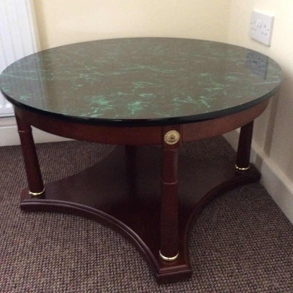 Marble Coffee Table Gumtree Melbourne: Occasional/coffee Table, Dark Wood Green Marble Effect Top