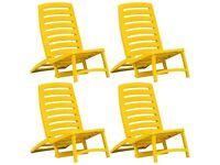 Kids' Folding Beach Chair 4 pcs Plastic Yellow-45625