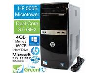 HP Compaq desktop 500b/mt Core-dual 2.96 Ghz/ 4 GB Ram/250 GB H.D/ DVI Port Win 7 fully working