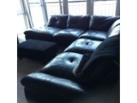 Black Leather corner unit for sale. The unit is in three parts and is in very good condition.
