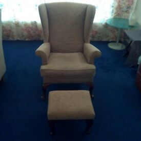 Antique wingback armchair/footstool, collection only in Edinburgh