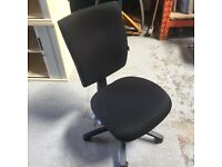 Black square back operator chair no arms