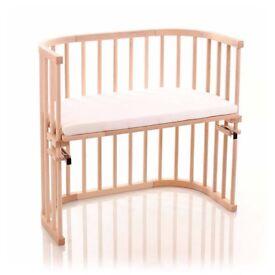 BabyBay Natural Beech Co-sleeping Crib + mattress + 2 sheets + stars bumper £350 new