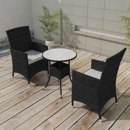 Garden Furniture - 5 PCS Outdoor Garden Rattan Dining Set Balcony Table and Chair Furniture Black
