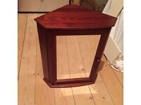 Mahogany Corner bathroom cabinet with internal glass shelf, as new condition, 54cm high, 47cm wide