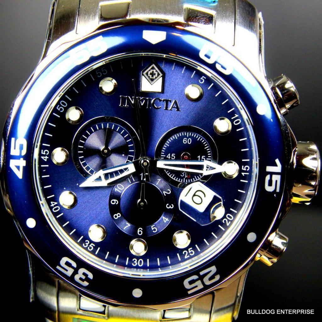 Mens Invicta Pro Diver Scuba Silver Blue Steel Chronograph Swiss Parts Watch New