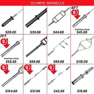 Olympic Bar Barbell Swiss Training Aluminum Women's Hex Trap Squat Axle Economy Tricep Triceps Super E-Z 5ft 6ft 7ft