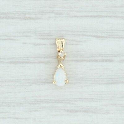 Synthetic Opal & Diamond Small Drop Pendant - 14k Yellow Gold Pear Cut Diamond Pear Opal Pendant