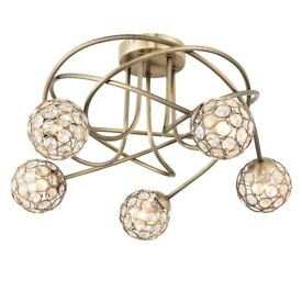BRAND NEW LOPEZ CRYSTAL CIRCLE 5 LAMP CEILING LIGHT WITH BULBS