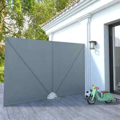 vidaXL Collapsible Terrace Side Awning Grey 300x200cm Privacy Balcony Sunshade