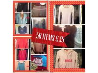 BUNDLE over 50 items Topshop river island etc 8-12 mainly fit size 10 shop labels vary age 20 up