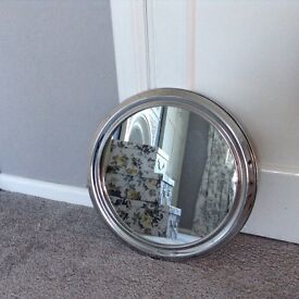 Small round silver mirror