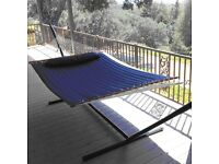 Hammock (Quilted Navy Blue) Double size spreader bar
