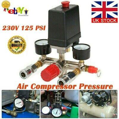 UK Air Compressor Pressure Switch Control Valve Manifold Regulator Gauges 230V