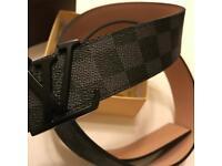 Louis Vuitton black/grey damier belt with box